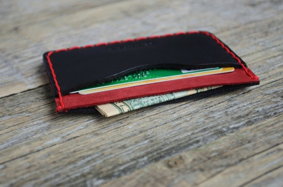 Red and Black Leather Wallet. PERSONALIZED Credit Card or Cash Holder. Handmade and Hand Sewn Unisex Pouch.