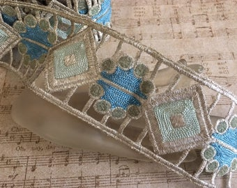 1920's Blue and Pale Green Metallic Stitched Trim