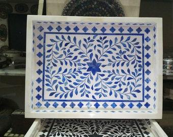 Handmade Blue Bone Inlay tray
