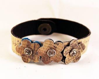 Unique Leather Handmade Bracelet, Music, Leather Bracelets for Women, Flower Jewelry, Boho Jewelry, Cuff Bracelet
