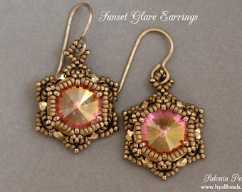 Beaded Earrings Tutorial - Sunset Glare Earrings - Rivoli Earrings Pattern - Digital Download