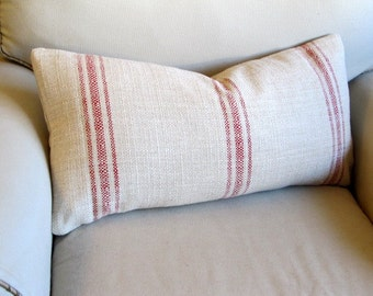 FRENCH LAUNDRY  12x25  Sofa Pillow  in RED Stripes