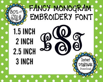 Fancy Monogram Font - 4 Sizes 1.5 inch, 2 inch, 2.5 inch, 3 inch - Perfect for Monogramming Shirts, Bags, Boots- PES Format- Sew Perfect