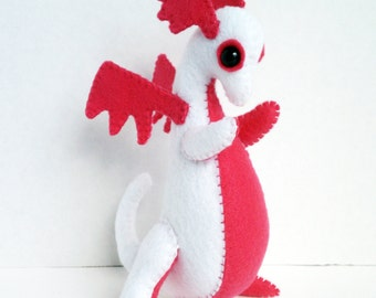 Baby Dragon felt plush stuffed animal- White with hot pink