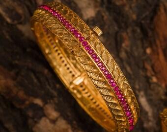 RUKMINI BANGLES RUBY | Indian jewelry | Temple kundan gold jewelry | Bangles