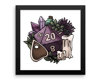 Witchy D20 Framed poster - Assorted Sizes - D&D Tabletop Gaming