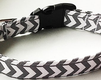 Gray Chevron Collar for Dogs and Cats