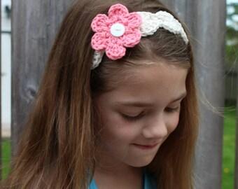Gift for girl, Tie-Back Interchangeable Flower Headband