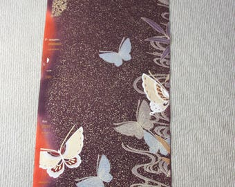 Butterfly kimono fabric/ Brown / Vintage Japanese silk fabric/C