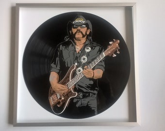 Lemmy painted on Vinyl Record - Framed and ready to hang