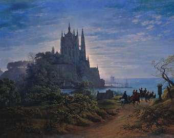 Gothic Church on a Rock by Karl Friedrich Schinkel Home Decor Wall Decor Giclee Art Print Poster A4 A3 A2 Large Print FLAT RATE SHIPPING