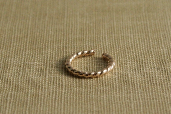 14K Yellow Gold Filled Twisted Wire Ear Cuff