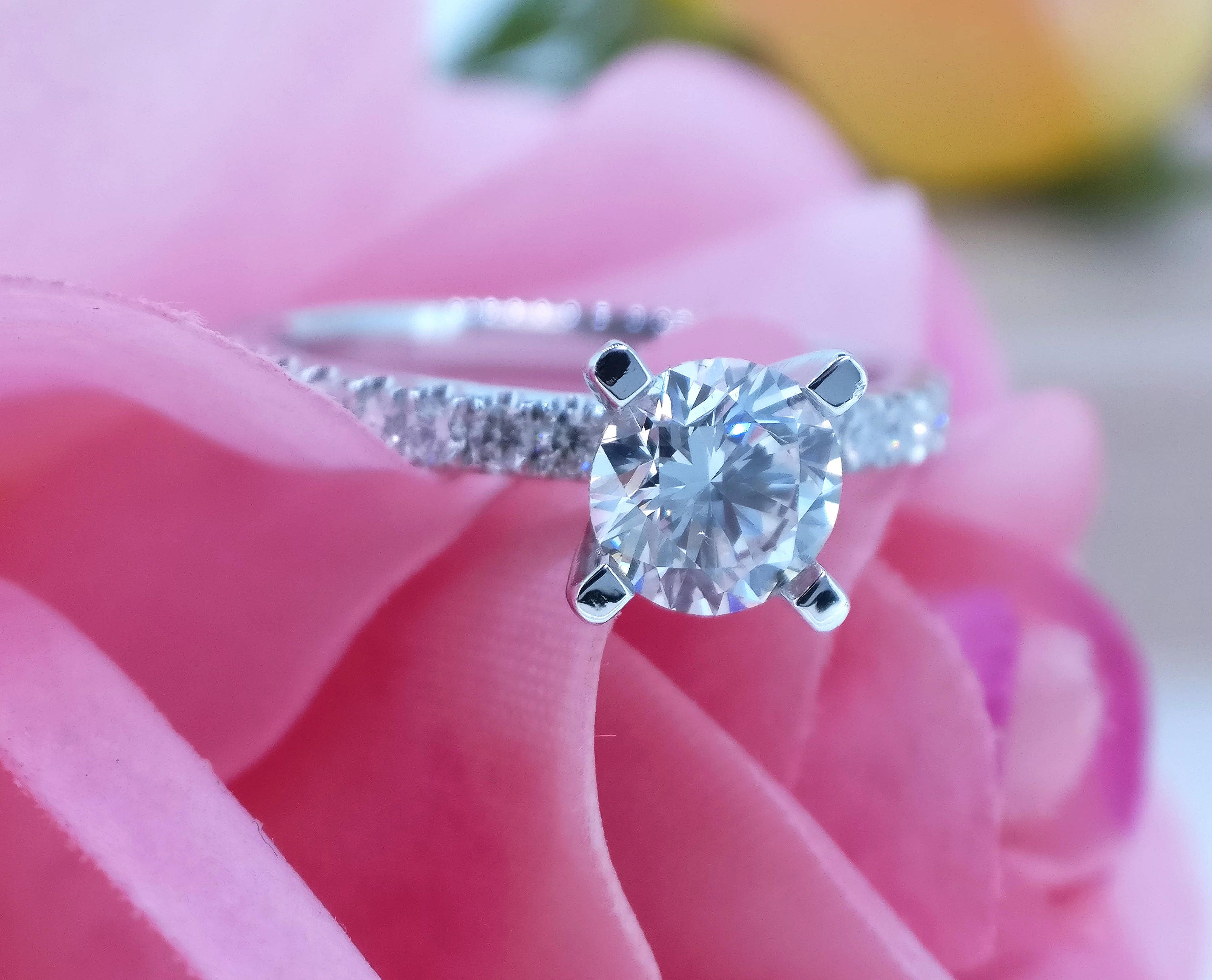 1 carat Forever Brilliant Moissanite 4 prong Engagement ring