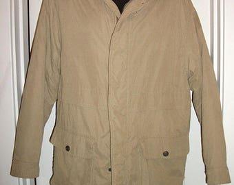 Mens DOCKERS Lined Beige Winter coat jacket Size Large