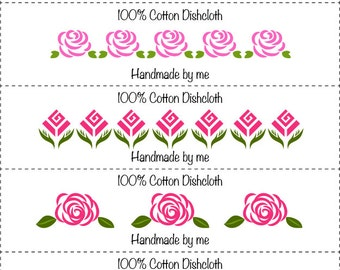 Roses Washcloth/Dishcloth Labels-PDF/JPG only