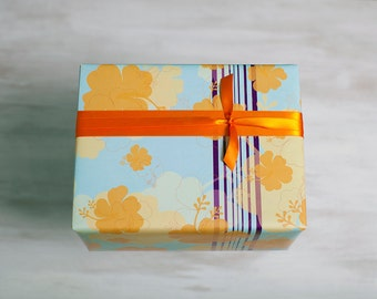 Hibiscus Recycled Gift Wrap, Floral Wrapping Paper, Tropical Flowers, Made in the USA, Turquoise Blue, Orange, Everyday Gift Wrap, Island