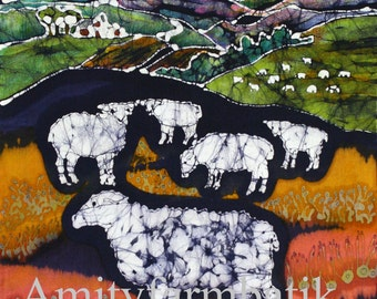 Sheep at Midnight   -  Limited edition Giclee print from original batik
