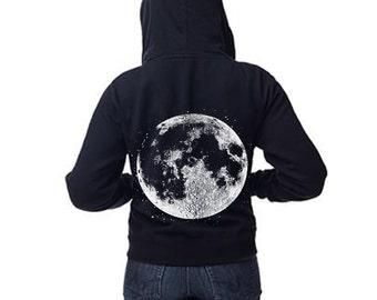 Womens Boho Gypsy Yoga Full MOON Full Zip Sweatshirt Vintage Retro Hoodie Zip Up Cotton Fleece s, m, l, xl