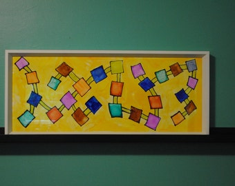 Painted Glass Wall Art | Geometric Art | Alcohol Ink Art on Glass