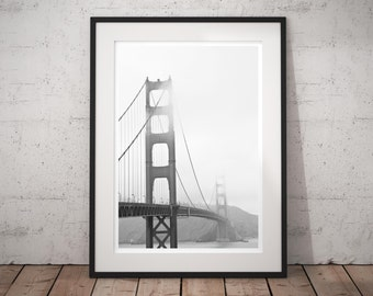 Black and White Photography 'Foggy Golden Gate' urban minimal modern fine art print, monochrome wall decor, contemporary large wall art