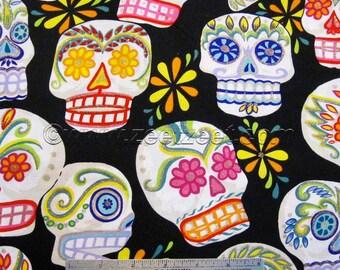 CALAVERAS SKULLS Black Alexander Henry Big Sugar Skull Cotton Quilt Fabric - by the Yard Day of the Dead