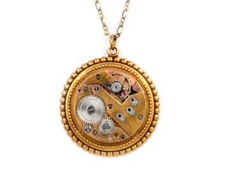 Vintage Rose Gold Watch Movement Steampunk Necklace
