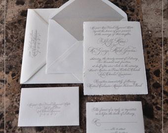 Calligraphy Letterpress Invitation