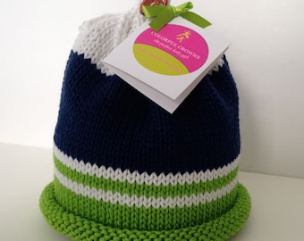 Seattle Seahawks Knitted Newborn Baby Hat, Navy Blue, Green & White, Football Fans~Best Baby Gift, Hand-Knit, Cotton