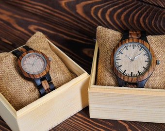 Two Watches for Romantic Couples Gift Set Women and Men Wooden Watches Personalized Watches for couple Engraved Watches Gifts for Couple