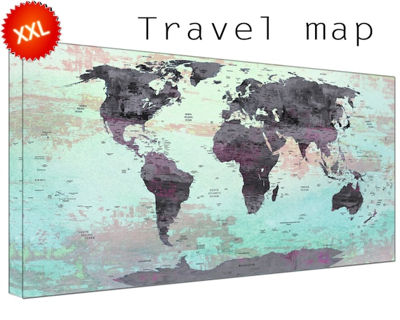 Travel world maps canvasconquest world map pin board canvas wall art art print large world map pinboard with countries home gumiabroncs Choice Image