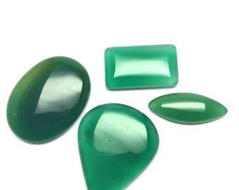 Green onyx cabochons gemstone 28 to 38mm