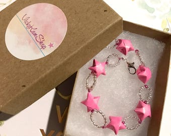 Pink Origami Stars Bracelet (READY TO SHIP)