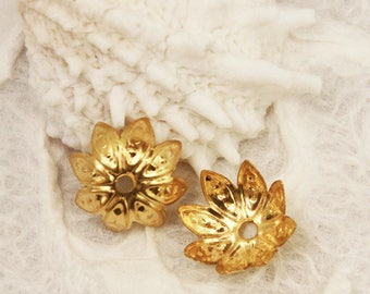 Gold Iron Flower Bead Cap 10mm (50 pcs) G20 Good for Torch Fired Enamels