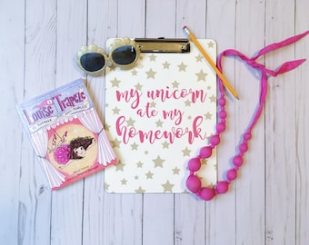 Personalized Clipboard - My unicorn ate my homework