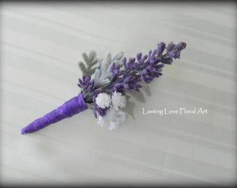 Purple Boutonniere, Lavender Boutonniere, Men's Boutonniere, Wedding Boutonniere, Groom's Boutonniere,  Rustic Boutonniere