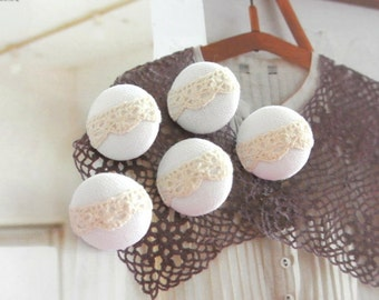 Handmade Small Off White Cream Wedding Floral Lace Fabric Covered Buttons, Flat Backs, 0.75 Inches 5's