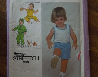 Simplicity 8949, size 1-3 toddler, stretch knits, tops, pants, shorts unlined hooded jacket, sewing pattern, craft supplies