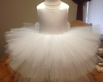 Fancy Frilly Satin Tulle Lace Flower Girl, Christening, Special Occasion Dress