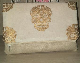 Fold Over Clutch Purse/Metallic Gold Skulls/Evening Purse