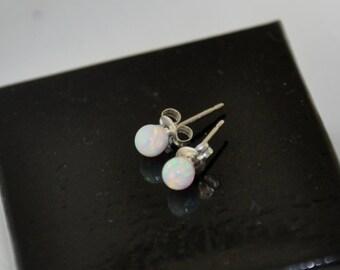 4mm Ball Stud Post earrings, Opal Earrings, Sterling Silver Earrings,  Opal Jewelry, 925 Sterling Silver