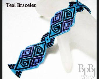 Bead Pattern - Teal  Bracelet - Advanced brick stitch