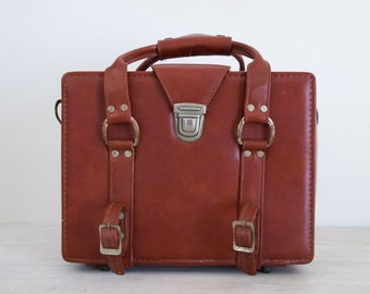 vintage padded case/bag with outside straps