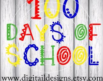100 Days Of School SVG - png - dxf - eps - fcm - ai -  Silhouette - Cricut - Teacher SVG - School SVG -100 Days - Hundred Days Cut File