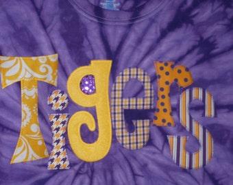Women's LSU Tigers whimsical tie dye long sleeve applique shirt