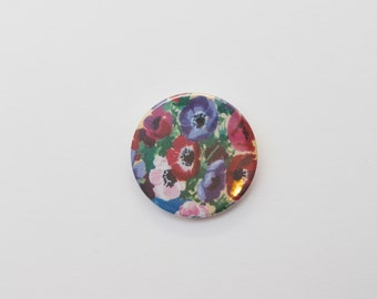 Flowers - A Badge  / Pinback Button made from a Vintage Ladybird Book, 38mm 1.5 Inches