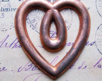 Heart Brass Stamping, Hollow Back, Copper Plated, Brass Stampings, Craft and Jewelry Supplies Made in the USA