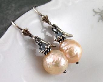 Peach baroque pearl earrings with blue sapphire, handmade sterling silver earrings
