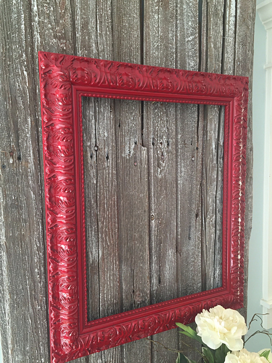 Large Baroque Frame Hand Painted Picture Frame Red Hollywood Regency ...