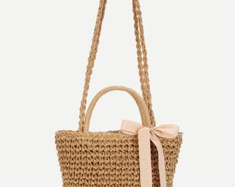 Bow Decorated Straw Crossbody Bag