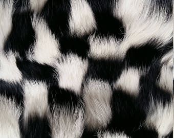Check pattern rabbit fur